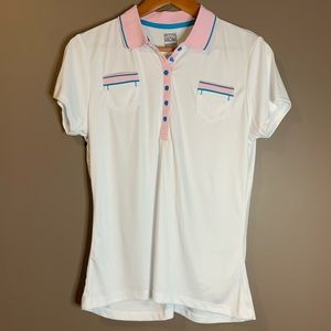 Callaway white, blue and pink golf shirt